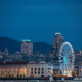 Genova, 10/11/2017. Accensione della ruota panoramica installata all'Arena del Mare del Porto Antico.